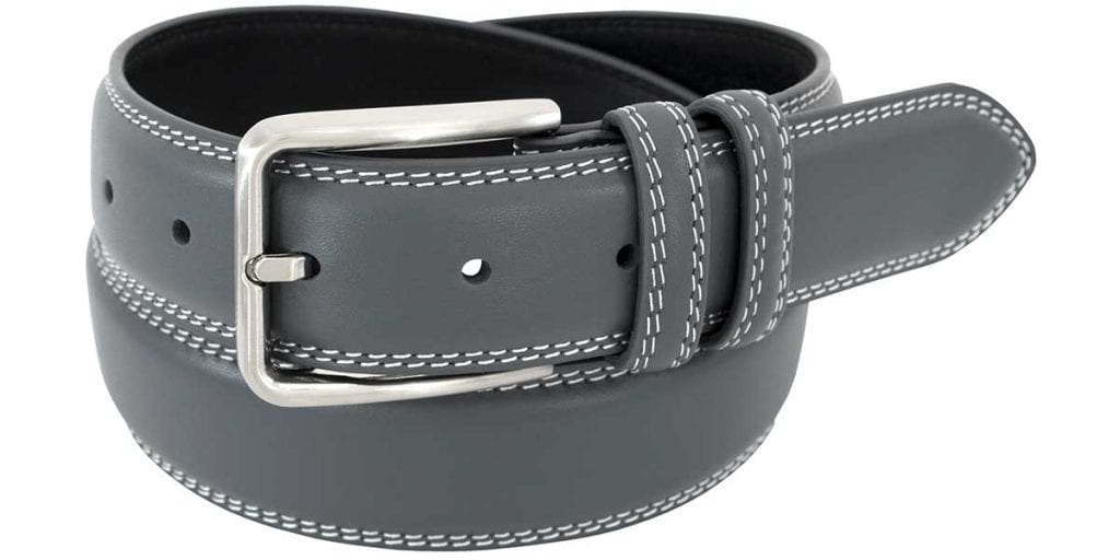 mens gray leather belt